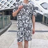 男裝休閒短袖短褲運動套裝寬鬆嘻哈街舞服裝 時尚教主