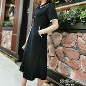 2019夏裝新款大碼女裝顯瘦蕾絲花邊洋裝赫本小黑裙修身長裙子 韓語空間