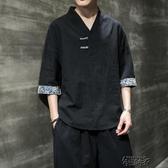 夏季潮流中國風男裝寬鬆大碼漢服上衣服T恤   【雙十二免運】