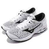 Mizuno 慢跑鞋 WaveKnit R2 白 黑 針織鞋面 女鞋 運動鞋【PUMP306】 J1GD1829-10
