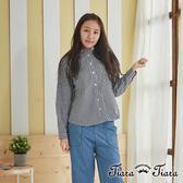 【Tiara Tiara】清新風小方格長袖襯衫(黑)
