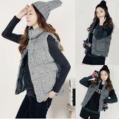 (T-1543)外套 背心 無袖棉立領保暖釘扣馬甲