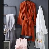 睡袍 浴袍酒店棉質吸水速幹毛巾料浴衣男女長款情侶棉質睡袍一對可定製 4色S-L