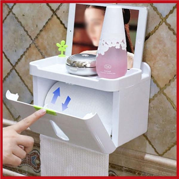<特價出清>創意防水收納盒 廁所抽取+捲筒二用衛生紙盒 置物收納盒 免打孔強力黏貼【AP07003】