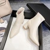 白色細跟短靴女2020年新款尖頭高跟鞋瘦瘦靴中跟法式靴子女馬丁靴 酷男精品館