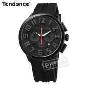 Tendence 天勢表 / TY460014 / 立體刻度 酷黑三眼 日期 礦石強化玻璃 防水100米 矽膠手錶 黑色 46mm