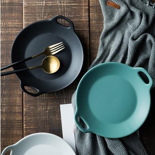 北歐風 簡約 雙耳陶瓷圓形啞光餐盤 牛排盤 陶瓷盤 可微波 水果沙拉盤 烤盤【RS1016】