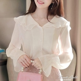 2020年秋裝新款白色雪紡襯衫女設計感小眾襯衣秋冬長袖娃娃領上衣 果果輕時尚