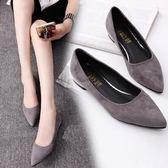 2018春夏新款淺口鞋尖頭女鞋平底粗跟單鞋低跟平跟黑色工作鞋瓢鞋 時尚潮流