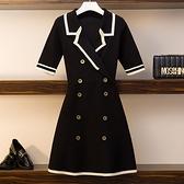 洋裝~夏裝新款大碼女裝微胖mm撞色西裝領雙排扣冰絲短袖連身裙3F086-A胖妹大碼女裝