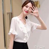 雪紡衫短袖女夏上衣新款韓版女裝喇叭袖時尚寬鬆百搭襯衫夏季 港仔會社