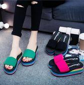 外穿高跟韓版潮新款彩虹底坡跟防滑女士涼拖鞋鬆糕厚底一字拖鞋