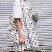 可愛少女格子系帶顯瘦無袖吊帶裙
