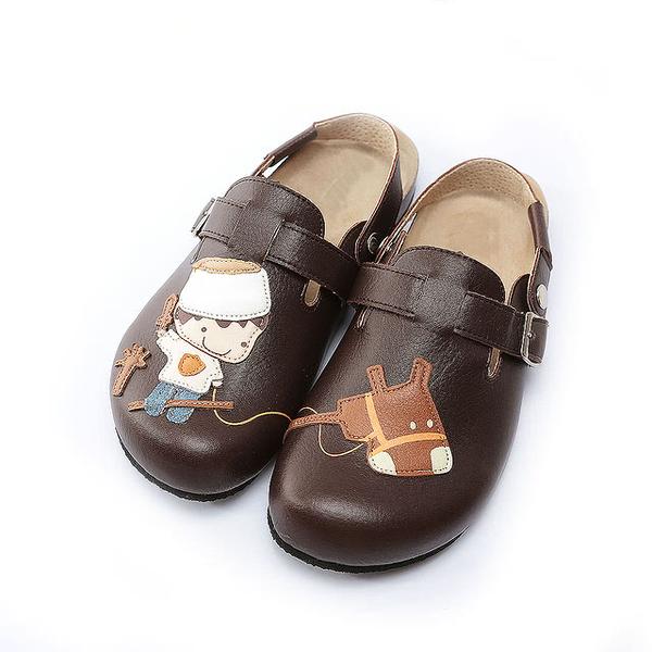 【Jingle】小王子騎馬記前包後空軟木鞋(咖色大人款)