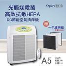 【Opure 臻淨】新A5高效抗敏HEPA光觸媒抑菌DC節能空氣清淨機 超大坪數專用 (贈全套濾網一年份)