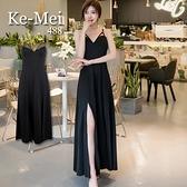 克妹Ke-Mei【AT65728】女神辛辣風性感M型美胸開叉渡假長洋裝
