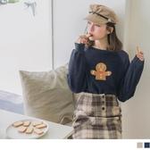 《KG0655-》圓領絨毛可愛薑餅人刺繡長袖上衣 OB嚴選