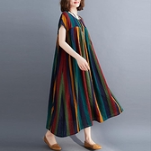 褶皺拼接條紋印花棉麻連衣裙胖mm大碼女裝中長款短袖亞麻大擺裙子 茱莉亞