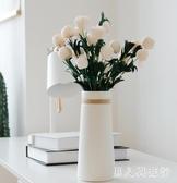 簡約現代客廳家居創意擺件白色麻繩日式陶瓷文藝水培清新干花花瓶 DR6649【男人與流行】