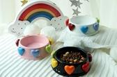 寵物碗愛心陶瓷寵物貓咪狗狗食盆碗【聚寶屋】