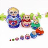 抖音俄羅斯套娃小肚10層貼金彩繪優質椴木手工彩繪兒童玩具