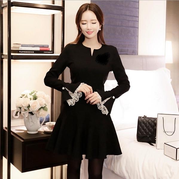 中大尺碼洋裝 韓版喇叭繡拼接蕾絲顯瘦連身裙 L-5XL #wm221 ❤卡樂store❤