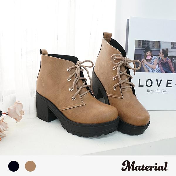 短靴 綁帶超厚底短靴 MA女鞋 T6127
