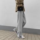灰色運動褲女垂感加厚2020新款秋冬高腰垂感寬管褲休閒寬鬆直筒褲 【雙11】