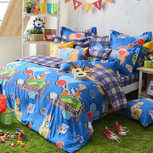 義大利Fancy Belle《熊比冒險趣》雙人貢緞四件式防蹣抗菌舖棉兩用被床包組