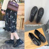 小皮鞋 英倫風軟妹小皮鞋女學生韓版原宿粗跟平底黑色扣帶單鞋女  『魔法鞋櫃』