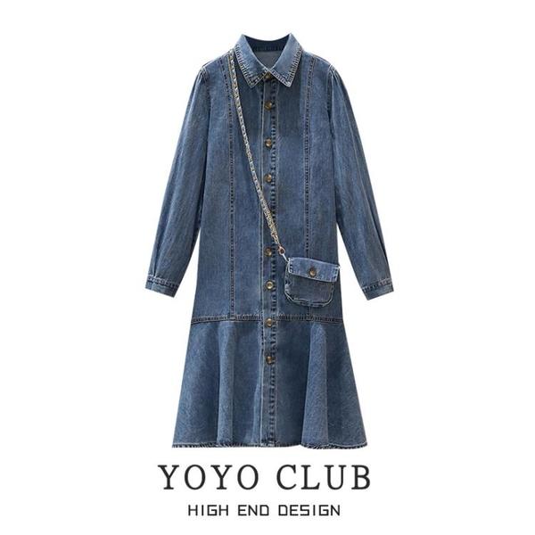 長袖洋裝 大碼女裝Polo領薄款長袖牛仔連身裙 早秋胖mm寬松顯瘦荷葉邊魚尾裙