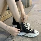 鞋子女港味高筒鞋女夏新款百搭帆布鞋側拉鍊透氣韓版街頭潮鞋LX 伊蘿鞋包