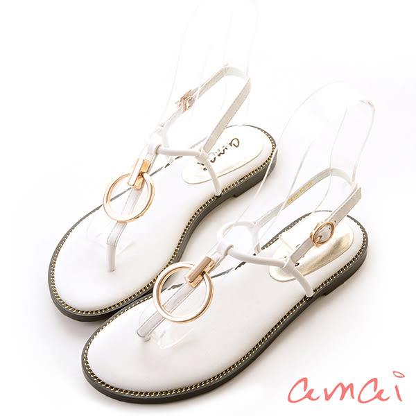 細緻金屬圓環扣飾涼鞋