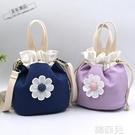 水桶包 帆布包包女時尚新款斜背包布藝小包抽繩水桶包手提包手拎小布包袋 韓菲兒