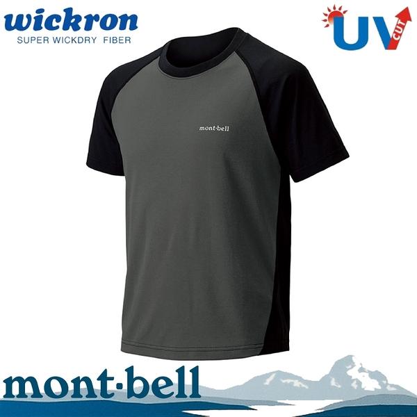 【Mont-Bell 日本 男 Wickron Raglan 配色短袖T恤《黑/灰》】1114128/休閒衫/圓領衫
