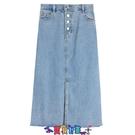 及膝裙 牛仔半身裙夏季2021年新款小個子高腰牛仔半身裙女開叉長裙中長款裙子包臀裙 寶貝計畫