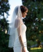 中短款白色雙層新娘柔軟婚紗鎖邊頭紗頭飾帶發梳可遮面 熊熊物語