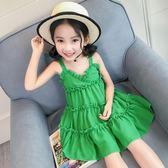 女童雪紡連身裙吊帶夏季連身裙中小童兒童背心裙公主裙度假沙灘裙子【奇趣小屋】