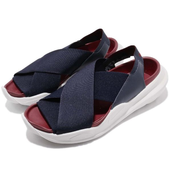 Nike 涼拖鞋 Wmns Praktisk 藍 紅 繃帶 涼鞋 女鞋 夏日穿搭 【PUMP306】 AO2722-400