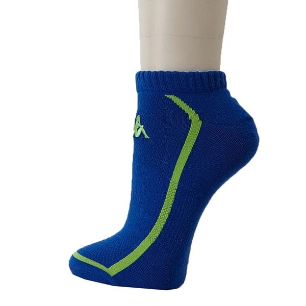 KAPPA 時尚型男休閒運動踝襪(薄底)~科技藍 蘋果綠3雙