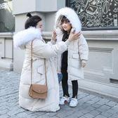 工廠批發價不退換親子裝防風保暖2018新款羽絨服棉衣女修身中長款大碼棉服外套小孩少10(1056A)