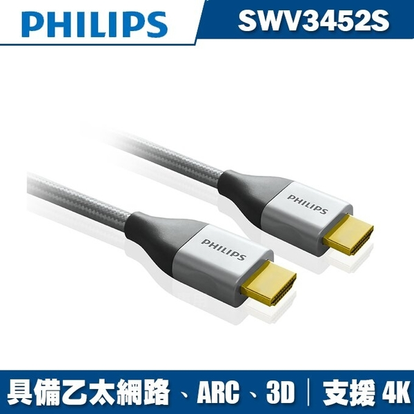 PHILIPS飛利浦 1.8m旗艦級HDMI乙太網路傳輸線SWV3452S/10