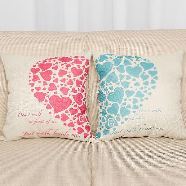 【BlueCat】繽紛愛心情侶粉藍系列棉麻抱枕腰枕套 枕頭套