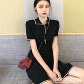 poplo洋裝  韓版復古慵懶風裙子百搭收腰極簡主義短袖洋裝女潮 『歐韓流行館』