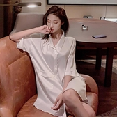 冰絲襯衫睡衣女夏中長款外穿夏季薄款寬鬆百搭性感男友風襯衣-年終穿搭new Year