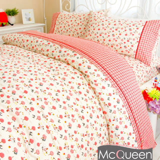 【McQueen‧麥皇后】《赤帽与狼》精梳棉加大雙人床包兩用被套四件組