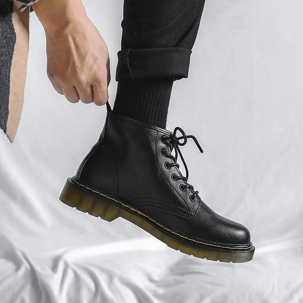 馬丁靴男款 真皮馬丁靴男高幫英倫風ins黑色皮鞋加絨款復古工裝機車靴潮冬季