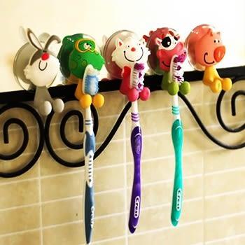 easy 立體卡通動物家族牙刷架/卡通吸盤牙刷架/可愛動物之家牙刷架/竹牙刷掛架 樂馨生活館