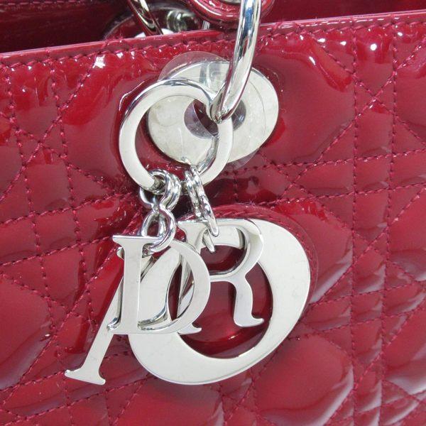 Dior 紅色漆皮手提斜背兩用包 Lady Dior 【二手名牌 BRAND OFF】