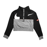 Nike 長袖T恤 Pro Get Fit Icon Clash Fleece Top 黑 灰 女款 短版 運動休閒 【ACS】 CJ3467-010